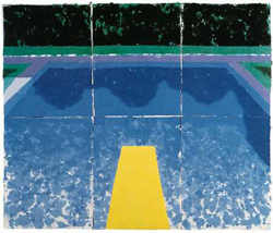 Day Pool with 3 Blues by David Hockney
